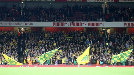 The traveling Norwich fans before the Carabao Cup match at the Emirates Stadium, LondonPicture by Pa