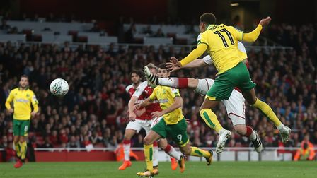 Josh Murphy of Norwichgoes close with a header on goal during the Carabao Cup match at the Emirates