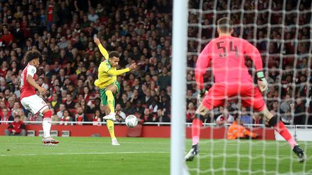 Josh Murphy of Norwich has a shot on goal during the Carabao Cup match at the Emirates Stadium, Lond