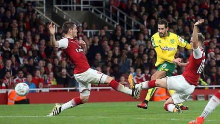 Mario Vrancic of Norwich has a shot on goal during the Carabao Cup match at the Emirates Stadium, Lo
