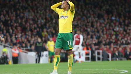 Josh Murphy of Norwich rues a missed chance during the Carabao Cup match at the Emirates Stadium, Lo