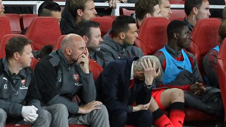 Arsenal manager Arsene Wenger cut a frustrated figure for much of his team's Carabao Cup battle with