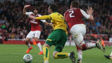 James Husband goes down under Mathieu Debuchy's late challenge. Picture: Paul Chesterton/Focus Image