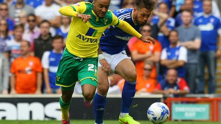 Luke Chambers tries to get the better of Nathan Redmond at Portman Road. Picture: Paul Chesterton/Fo