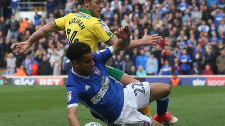 Tristan Nydam of Ipswich Town is fouled by Wes Hoolahan of Norwich during the Sky Bet Championship m