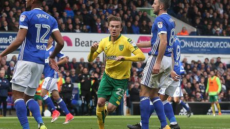 James Maddison of Norwich celebrates scoring his side's goal during the Sky Bet Championship match a