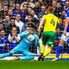Bartosz Bialkowski makes a save during the first half. Picture: STEVE WALLER WWW.STEPHENWALLER.CO