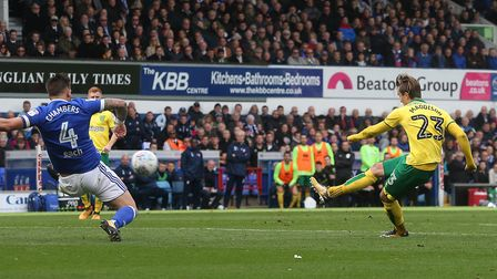 James Maddison curled Norwich City in front at Portman Road. Picture: Paul Chesterton/Focus Images L