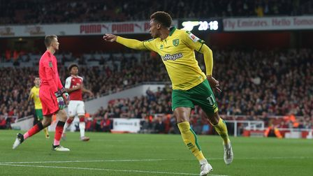 Josh Murphy wheels away after sending Norwich City into a first-half lead over Arsenal at the Emirat