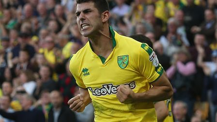 Nelson Oliveira of Norwich celebrates scoring his side's equalising goal against Hull. Picture by Pa