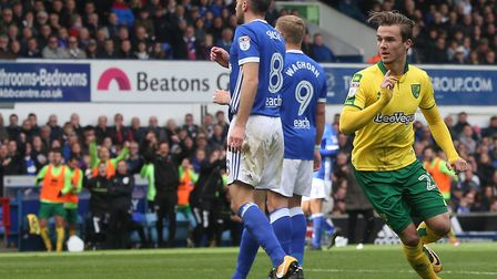 James Maddison turns to celebrate giving Norwich City the lead at Portman Road. Picture: Paul Cheste