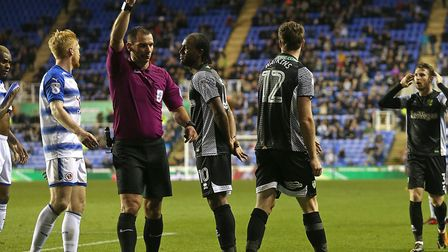 Marley Watkins is sent off by referee Tim Robinson late on during Norwich City's 2-1 win at Reading.