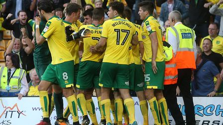 Norwich City celebrate Nelson Oliveira's late equaliser against Hull in style at Carrow Road. Pictur