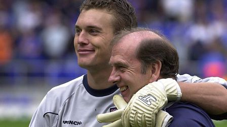 Andy Marshall with former City kit-man Terry Postle at Portman Road in 2002. Picture: Archant librar
