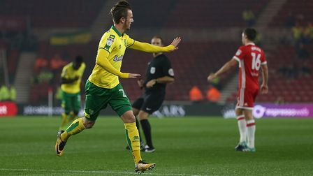 James Maddison celebrates scoring Norwich City's eventual winner at Middlesbrough on Tuesday night.