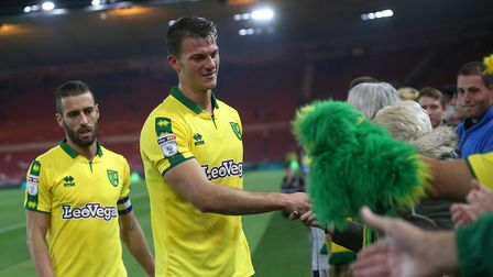 Christoph Zimmermann spends time with the Norwich City fans who made a long a fruitful trip north to