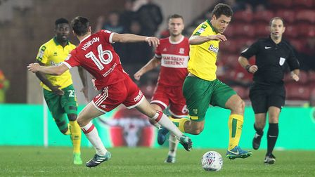 Yanic Wildschut surges past Jonny Howson in the win at Middlesbrough. Picture: Paul Chesterton/Focus