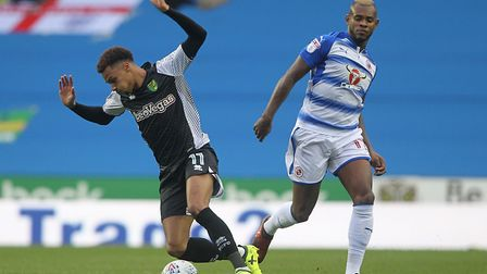 Josh Murphy of Norwich is fouled by Leandro Bacuna of Reading during the Sky Bet Championship match