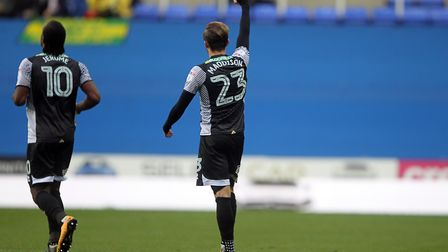 James Maddison of Norwich celebrates scoring his sides 1st goal during the Sky Bet Championship matc