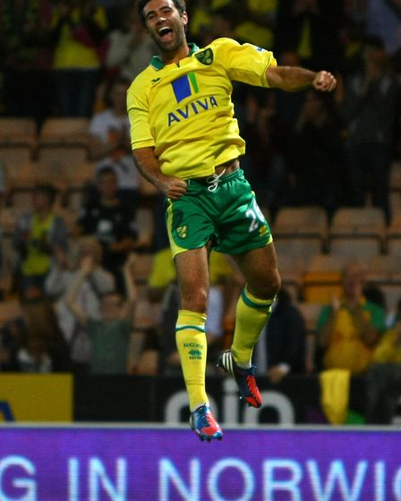 Simon Lappin celebrates a Capital One Cup goal against Scunthorpe at Carrow Road. Picture by Paul Ch