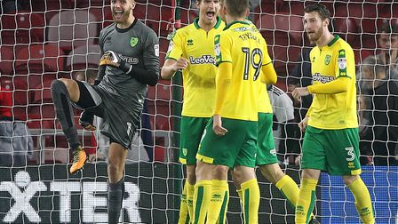 Angus Gunn leads the celebrations as Norwich City win 1-0 at Middlesbrough. Picture by Paul Chestert