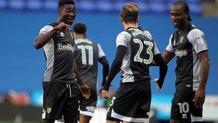 James Maddison of Norwich celebrates scoring his sides first goal during the Sky Bet Championship ma