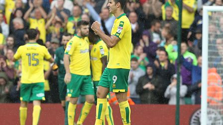 Goal-scorer Nelson Oliveira celebrates Norwich City's 1-0 win over Birmingham at Carrow Road at the