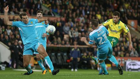 Yanic Wildschut has a shot on goal during City's frustrating 0-0 draw with Burton at Carrow Road. P