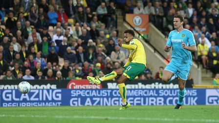 Josh Murphy had a golden chance to sink Burton at Carrow Road. Picture: Paul Chesterton/Focus Image