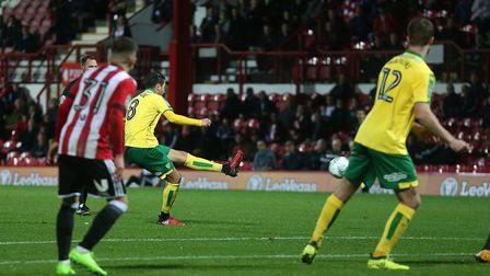 Mario Vrancic puts Norwich 2-0 up at Brentford with this free-kick. Picture by Paul Chesterton/Focus