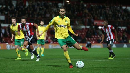 Mario Vrancic slots home from the penalty spot to give the Canaries an early lead in their Carabao C
