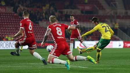 James Maddison was on target with a superb first half effort at Middlesbrough. Picture: Paul Chester