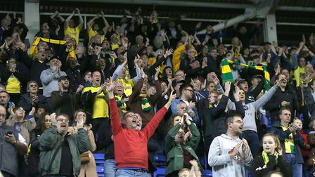 The traveling Norwich City fans have now seen four successive victories on the road. Picture: Paul C