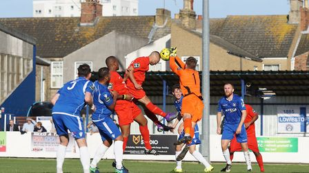 Lowestoft Town goalkeeper Ben Dudzinski called into action as Harrow Borough attack. Picture: Shirle