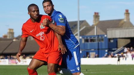 Lowestoft Town's Dean Leacock in action against Harrow Borough. Picture: Shirley D Whitlow