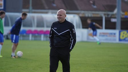 Lowestoft Town manager Ady Gallagher before the match against Harrow Borough. Picture: Shirley D Whi