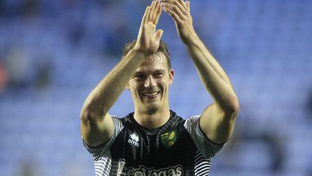 Christoph Zimmermann applauds the away support at the end of Saturday's match at the Madejski Stadiu