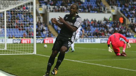 Cameron Jerome watches his shot clip the post at Reading. Picture: Paul Chesterton/Focus Images