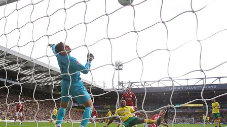 Cameron Jerome of Norwich acrobatically puts the ball into the net but the goal is disallowed during