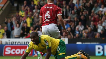 Cameron Jerome realises his goal has been disallowed for offside during Norwich City's 0-0 draw with