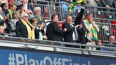 The Norwich board celebrate the second goal. Picture: Paul Chesterton/Focus Images Ltd