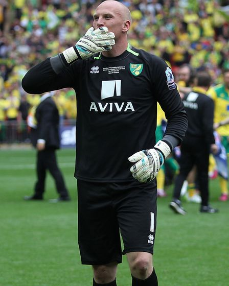 John Ruddy waves to someone in the crowd. Picture: Paul Chesterton/Focus Images Ltd
