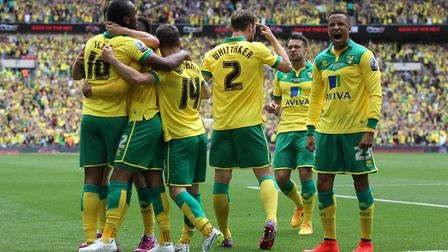 Norwich celebrate the opening goal. Picture: Paul Chesterton/Focus Images Ltd