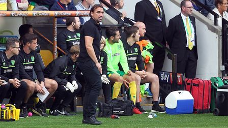 The coat came off for Daniel Farke, as he watched his side draw a blank against Bristol City. Pictur