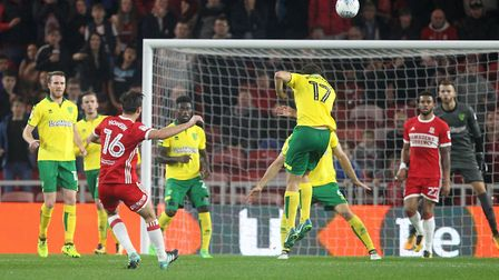Jonathan Howson of Middlesbrough blasts a shot on goal over the bar during the Sky Bet Championship