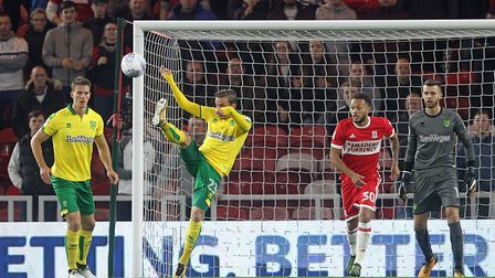 James Maddison clears his lines as Middlesbrough apply some pressure.