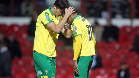 Josh Murphy and Timm Klose celebrate during their Carabao Cup victory at Brentford. Picture: Paul Ch