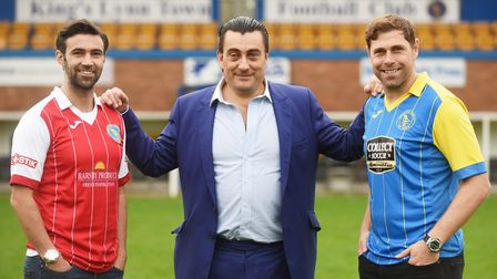 Former Norwich City stars (R) Grant Holt and Simon Lappin were unveiled at The Walks, pictured with
