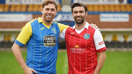 Former Norwich City stars (L) Grant Holt and Simon Lappin were unveiled at The Walks. Picture: Ian B