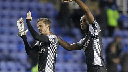 James Maddison (left) and Cameron Jerome acknowledge the travelling support following Norwich City's